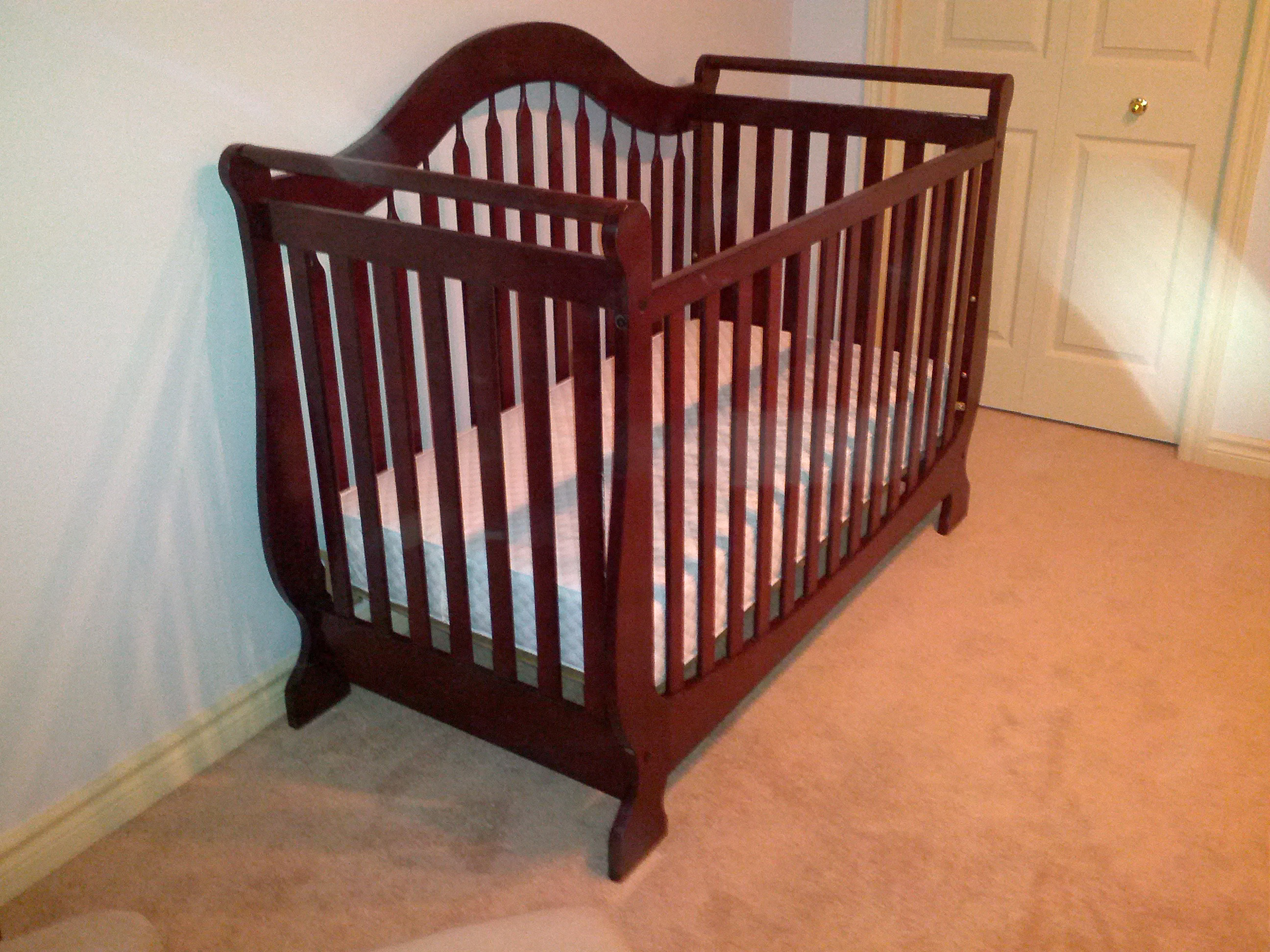 Mommy Market Cherry Sleigh Bed Crib And Mattress